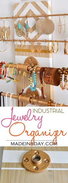 Wall Industrial Jewelry Organizer madeinaday.com