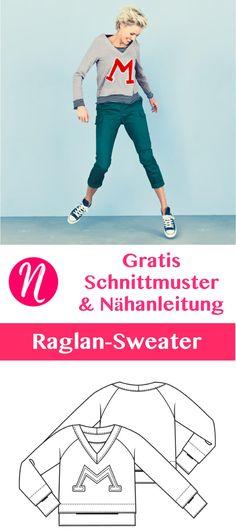 Freebook für einen Damen-Raglan-Pullover mit V-Ausschnitt. PDF-Schnittmster zum Drucken. Größe 34 - 46 ❤ Nähtalente - Magazin für kostenlose Schnittmuster ❤ - Free Sewing Pattern for a Raglan-Shirt or Sweater for Woman. Size 34 - 46.