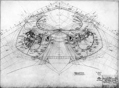 Saarinen's plan for the upper floor of the TWA Terminal, JFK Airport, New York Twa Terminal, Eero Saarinen, Saarinen Plans, Arches Plans, Architecture Plans, Terminal Eero, Architecture Drawing, Architecture Orthographe, Jfk Airports