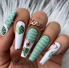 Fall Nail Art Designs, Toe Nail Designs, Acrylic Nail Designs, Fancy Nails Designs, Green Nail Designs, Long Acrylic Nails, Long Nails, Different Nail Designs, Rose Gold Nails