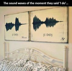 This is so cute the sound waves of the couple saying I do