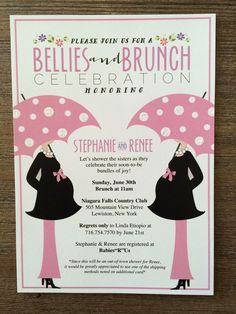 These Bellies+Brunch Invitations are perfect for a joint Baby Shower! Contact My Menuista today! #babyshowerinvitations  #newbaby #mymenuista