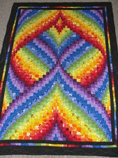 "Rainbow ""Fractal"" bargello - I don't have much use for quilts, but I'd make an exception for this!"