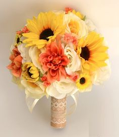"""17 piece package wedding bridal bouquet silk flowers bouquets coral yellow sunflower ivory orange rustic burlap lace """"lily of angeles Sunflower Bouquets, Silk Flower Bouquets, Bride Bouquets, Bridal Flowers, Flower Bouquet Wedding, Silk Flowers, Yellow Sunflower, Orange Yellow, Spring Wedding Bouquets"""