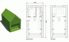 Dwelle: modernas casas diminutas, ecológicas, y autosuficientes Glass Cabin, Off Grid Cabin, Central Heating, Two Bedroom, Tiny Homes, Small Living, Ground Floor, Terrace, Floor Plans