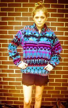 Vintage Columbia Blue Purple Pink Tribal Aztec Print Fleece Pull Over Zip Up Jacket. $35.00, via Etsy.