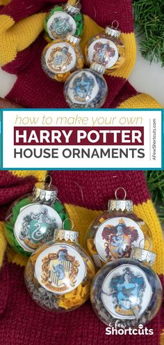 Hogwarts is home! Learn how to make your own DIY Harry Potter House Ornaments for Christmas with free printable!   @AFewShortcuts #harrypotter #christmas #craft #diy #hogwarts #printable
