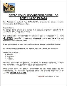 10/08 VI Concurso  Internacional de Tortillas. Pangusión. Tras la misa, en la campa de la Iglesia, o de la escuela Las Merindades