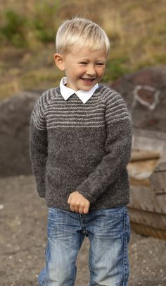Inspiration for Boy's Knit Sweater (pattern is in Danish only) Knitting For Kids, Knitting Projects, Hand Knitting, Crochet Baby, Knit Crochet, Crochet For Kids, Baby Knitting Patterns, Baby Patterns, How To Purl Knit