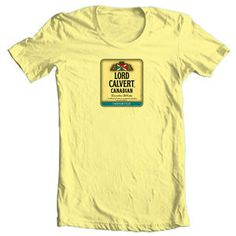 Lord-Calvert-T-shirt-Canadian-Whisky-beer-yellow-white-100-cotton-graphic-tee