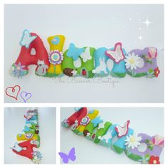 Felt name banner / garland / chain by The Banner Boutique Baby Crafts, Felt Crafts, Diy And Crafts, Crafts For Kids, Fabric Letters, Felt Letters, Felt Name Banner, Name Banners, Craft Presents