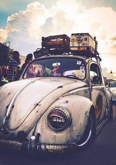 Hippie * Volkswagen * Bug * Travel * Luggage