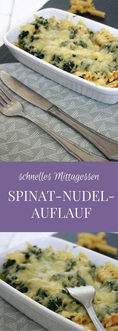 schnelles Mittagessen: Rezept für Spinat-Nudel-Auflauf. Der Nudelauflauf mit Spinat ist denkbar einfach und ist ein schnelles Familienessen. Der Spinatauflauf kann mit Rahmspinat oder Blattspinat zubereitet werden.