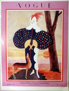 "Vintage Vogue Cover Poster Print, Full Color 1970s Frameable Picture, Wall Art From 1924 Autumn Fabrics & Original Designs,  15.25"" x 11.25"