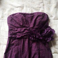 Plum Linen Strapless Dress W/ Flower Details