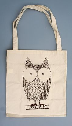 Cute Owl Cotton Tote Bag van Urbangift op Etsy, £4.99