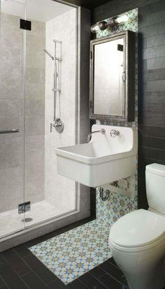 amenager une salle de bain petit espace carrelage sol idee