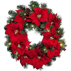 "Improvements Pre-Lit Poinsettia Christmas Greenery Wreath-26"" (79 CAD) ❤ liked on Polyvore featuring home, home decor, holiday decorations, christmas, flowers, xmas, natal, indoor christmas, christmas wreath and christmas urn filler"