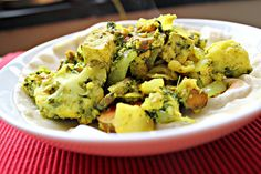 Tofu in Green Chile, Mint and Cilantro Sauce with Sweet Potatoes & Cauliflower