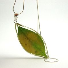 Resin Necklace Green Leaf Pendant by sisicata