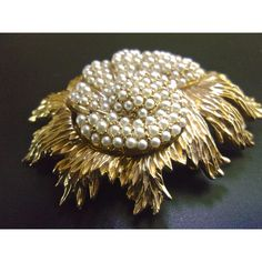 Seed Pearls Floral LEDO Brooch, Gold Tone, Dimensional, Vintage ($48) ❤ liked on Polyvore featuring jewelry, brooches, floral jewellery, vintage broach, pearl jewelry, leaf jewelry and leaf brooch
