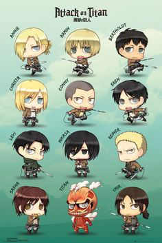 Attack on Titan Chibi Characters - Official Poster
