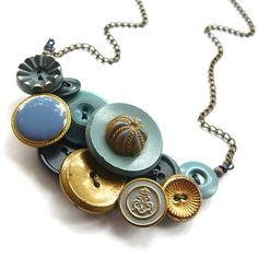 Shabby Chic Statement Button Necklace Gold by buttonsoupjewelry, $35.00