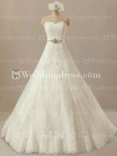 Classic Wedding Gown with Beaded Sash BG008  The dress of my dreams