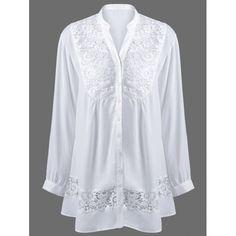 Plus Size Lace Trim Loose Fitting Blouse - WHITE 5XL