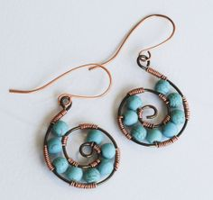 Turquoise Howlite Wire Wrap Spiral Conch Handmade Earrings