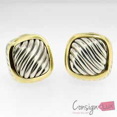 David Yurman 18K yellow gold and sterling silver clip-on earrings - http://designerjewelrygalleria.com/david-yurman/david-yurman-18k-yellow-gold-and-sterling-silver-clip-on-earrings/
