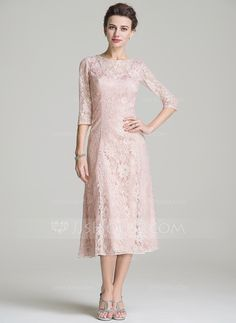 A-Line/Princess Scoop Neck Tea-Length Zipper Up Sleeves 3/4 Sleeves No 2016 Other Colors Spring Summer Fall General Plus Lace Mother of the Bride Dress