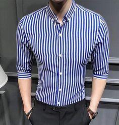 Men's shirt 2018 New summer men casual Short sleeve shirt Korean Slimliligla – Fashionable Men Half Sleeve Shirts, Shirt Sleeves, Blue Shirt Outfit Men, Casual Shirts For Men, Men Casual, Smart Casual, Casual Chic, Gents Shirts, Groom Shirts