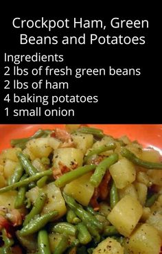 Dice ham and potatoes, add all ingredients to crock pot with 3 cups of water. Cook on low for 6 hours.