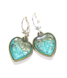 Turquoise Grey Heart Earrings Hand Painted Resin by JKCJewelry