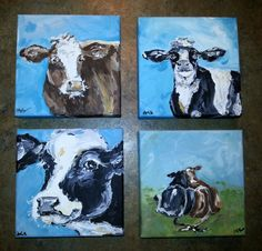 6 x 6 original cow paintings