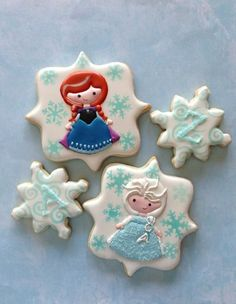 Disney Frozen cookies Anna & Elsa Cookie, Biscuit, Pretzel Bark, Biscuits, Cookies, Cupcake