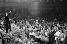 British fans at the Royal Albert Hall in London for the 49th Symphony Concert conducted by Malcolm Sargen, 1956