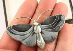 Superb big Antique Victorian c 1890 silver Scottish agate butterfly brooch pin