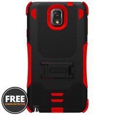 Samsung Galaxy Note 3 Tri Shield Rugged Case, Black/Red