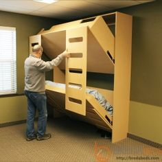 """Receive great recommendations on """"murphy bed diy"""". They are actually offered for you on our internet site. Murphy Bunk Beds, Bunk Bed Plans, Murphy Bed Plans, Bunk Beds With Stairs, Cool Bunk Beds, Kids Bunk Beds, Beds For Boys, Pallet Bunk Beds, Modern Bunk Beds"""