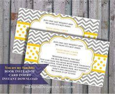 Book instead of card insert You are my sunshine yellow and grey chevron