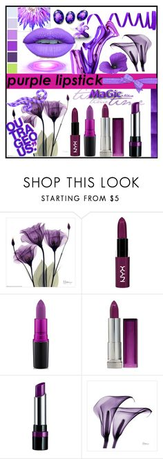 """Purple Lipstick"" by jeneric2015 ❤ liked on Polyvore featuring beauty, NYX, MAC Cosmetics, Maybelline, Rimmel, Monday and purplelipstick"