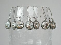 Earrings FIVE SETS for Bridal Party, Silver with Swarovski Crystal on Kidney Shaped Wires, Bridesmaid Gifts