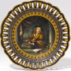 Meissen reticulated plate Old Masters painting