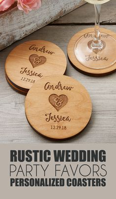 Encourage your guests to raise a glass in honor of your joyous union in rustic style with this exclusively designed Rustic Wedding Party Favors Personalized Coasters.| wedding decor ideas | rustic wedding | modern wedding | woodland wedding | wedding favors #Ad