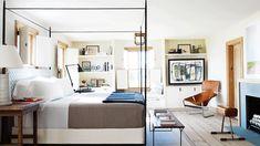 Coastal Cool Bedroom, Peter Dunham fabric on headboard