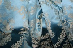 Heavenly Blue Cherubs Music Bubbles Damask Fabric by Brunschwig & Fils - Rare Vintage New Old Stock