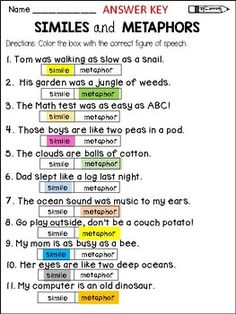 similes and metaphors - figurative language - figures of speechThis product will help students with identifying SIMILES and METAPHORS and distinguishing between them. Included you'll find 3 similes and metaphors worksheets, an assessment page, and a similes and metaphors interactive booklet.*Color the box with the correct figure of speech (2 pages)*Cut and paste the sentences under the correct figure of speech*Assessment page*My similes and metaphors bookletThis product is aligned with the…