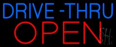 Blue Drive-Thru Red Open Neon Sign 13 Tall x 32 Wide x 3 Deep, is 100% Handcrafted with Real Glass Tube Neon Sign. !!! Made in USA !!!  Colors on the sign are Blue and Red. Blue Drive-Thru Red Open Neon Sign is high impact, eye catching, real glass tube neon sign. This characteristic glow can attract customers like nothing else, virtually burning your identity into the minds of potential and future customers.